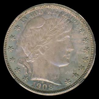 1908-O Barber Half NGC MS67 CAC