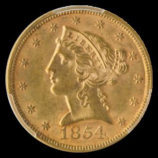 1854 $5 Liberty PCGS MS63 CAC