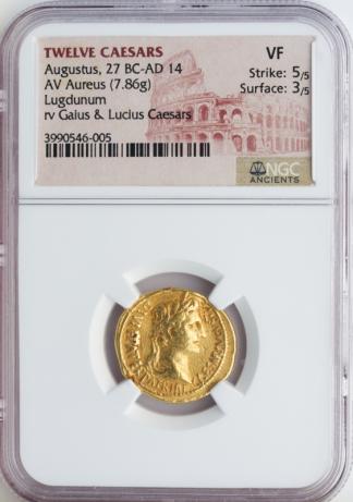 Twelve Caesars Augustus Aureus NGC VF Str:5 Srf:3   7.86g