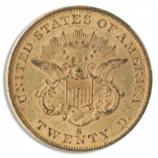 1855-S $20 Liberty PCGS AU58 CAC