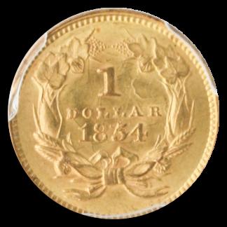 1854 $1 Gold Type II PCGS MS62
