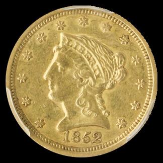1852-O $2 1/2 Liberty PCGS AU50 CAC
