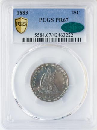 1883 Seated Liberty Quarter PCGS PR67 CAC
