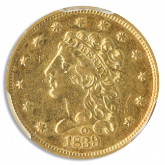 1839-O $2 1/2 Classic PCGS AU50