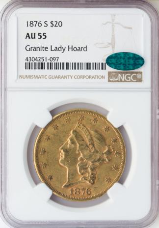 1876-S $20 Liberty NGC AU55 CAC