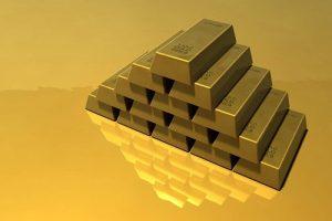 Pile of shiny gold bars