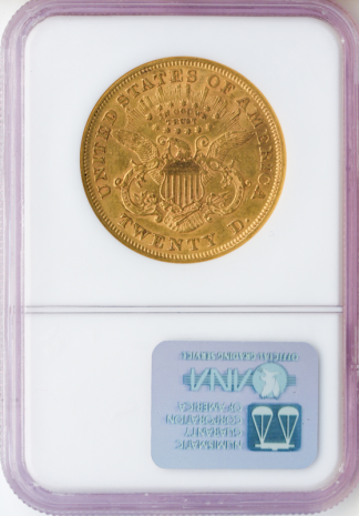 1866 $20 Liberty With Motto NGC AU50 CAC
