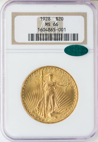 1928 $20 Saint Gaudens NGC MS66 CAC