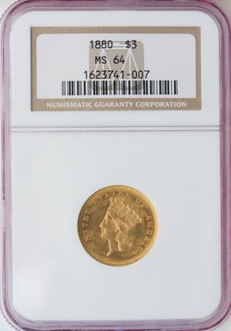 1880 $3 Indian Princess NGC MS64