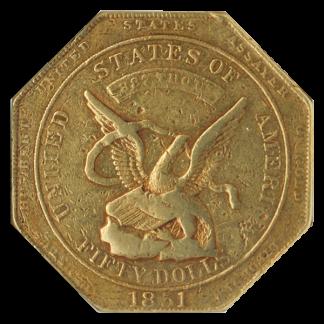 1851 $50 Humbert Reeded Edge NGC XF45 CAC