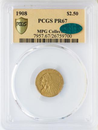 1908 $2.50 Indian PCGS PR67 CAC