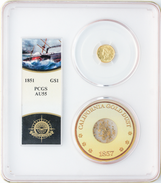 1851 Gold $1 SSCA Pinch Of Dust PCGS AU55