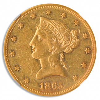 1865 $10 Liberty NGC AU53
