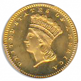 1868 $1 Gold Ty 3 PCGS MS67 CAC