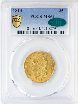 1813 $5 Capped Bust PCGS MS64 CAC