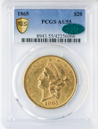 1865 $20 Liberty PCGS AU55 CAC