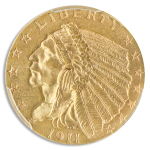 1911-D $2 1/2 Indian PCGS MS64 CAC