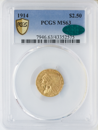 1914 $2 1/2 Indian PCGS MS63 CAC