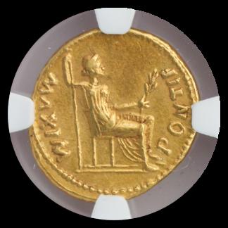 Roman Empire Tiberius Aureus NGC ChXF Str:5 Srf:4