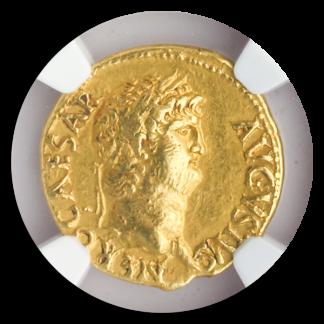 Roman Empire Nero Aureus NGC AU Str:5 Srf:2