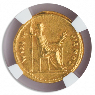 Roman Empire Tiberius Aureus NGC ChXF Str:5 Srf:4 7.7g