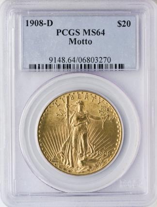 1908-D With Motto $20 Saint Gaudens PCGS MS64