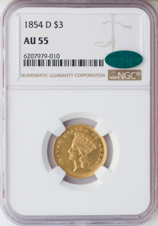 1854-D $3 NGC AU55 CAC