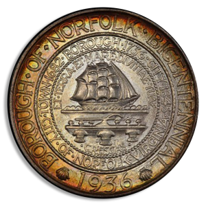 1936 Norfolk Virginia Silver Commemorative Obverse