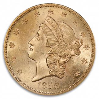 1856-S $20 Liberty SSCA Pinch Of Dust PCGS MS61