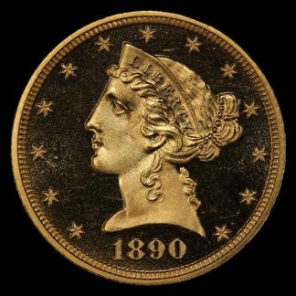 1890 $5 Liberty NGC AU58 CAC