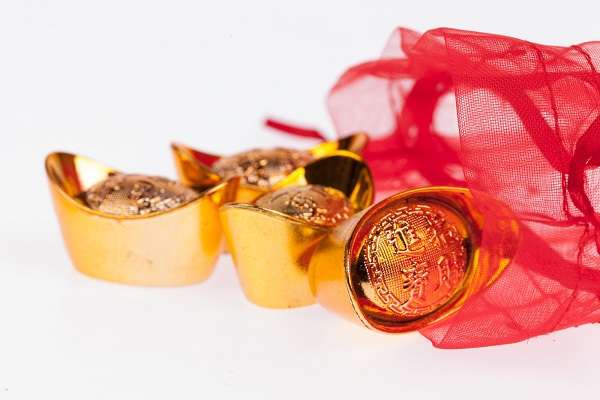 Chinese gold in a red sachet