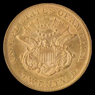 1861 $20 Liberty PCGS MS62 CAC