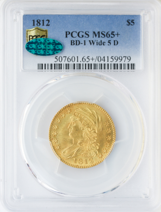 1812 $5 Capped Bust PCGS MS65 CAC +