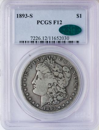 1893-S Morgan $1 PCGS F12 CAC