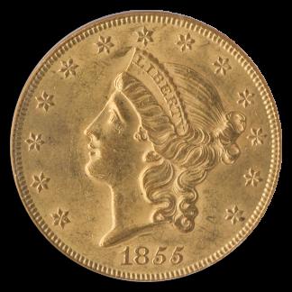 1855 $20 Liberty NGC AU58