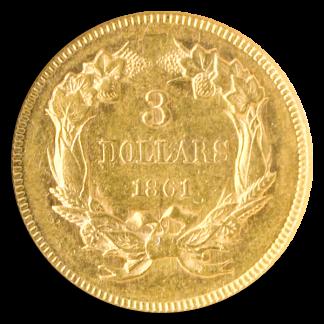 1861 $3 Indian Princess NGC AU58 CAC