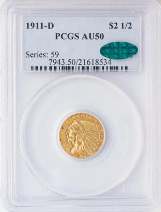 $2 1/2 INDIAN 1911-D PCGS