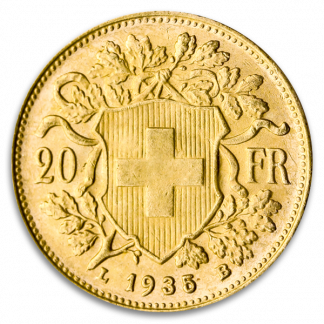 Swiss Gold 20 Franc Vrenelli Coin (Circ, Dates Vary)