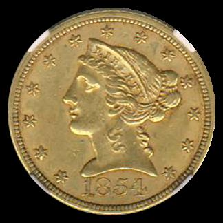 1854 $5 Liberty NGC AU58 CAC