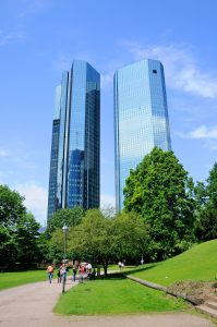 Outside view of Deutsche Bank surrounded by park