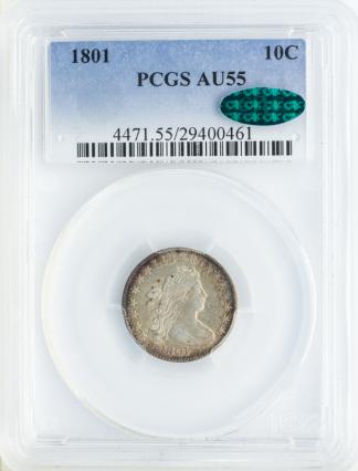 1801 Draped Bust Dime PCGS AU55 CAC