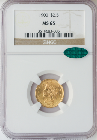 1900 $2 1/2 Liberty NGC MS65 CAC