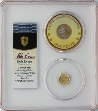 1853 $1 Gold SSCA Pinch Of Dust PCGS MS61