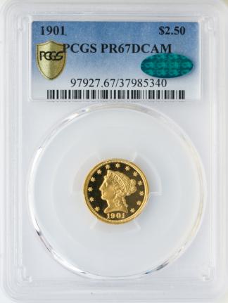 1901 $2.50 Liberty PCGS PR67 CAC Deep Cameo