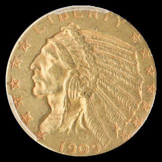 1909-O $5 Indian PCGS AU53 CAC
