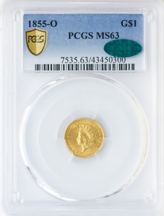 1855-O Ty II Gold $1 PCGS MS63 CAC