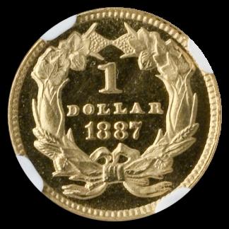 1887 Gold $1 Type 3 NGC PR65 Cameo CAC +