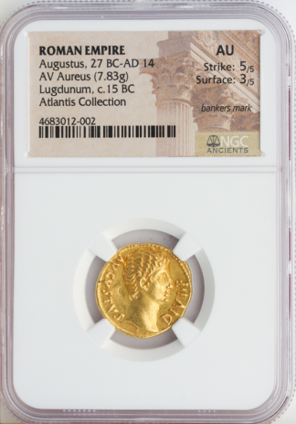 Roman Empire Augustus Aureus NGC AU Str:5 Srf:3 7.83g