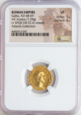Roman Empire Galba Aureus NGC VF Str:5 Srf:4