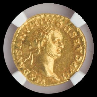 Roman Empire Domitian Aurues NGC ChAU Str:5 Srf:4 7.74g